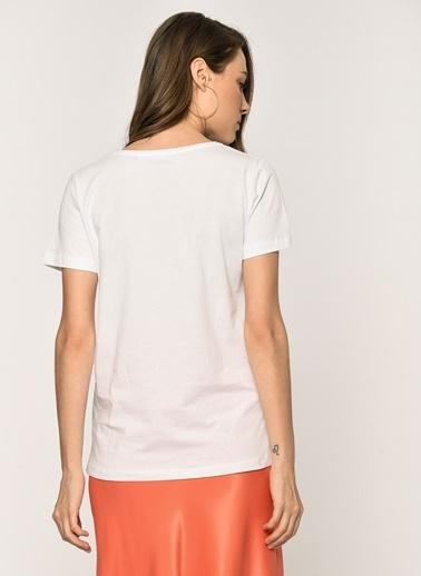 Loves You Hello Baskılı T-shirt Beyaz